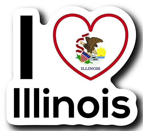Love Illinois State Decal Sticker Home Pride Travel Car Truck Van Bumper Window Laptop Cup Wall - One 5 Inch Decal - MKS0013