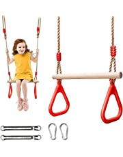 Sunshine Smile Ahşap Salıncak Koltuk, plastik halkalı çok fonksiyonlu çocuk ahşap trapez, maksimum ağırlık 190 kg (kırmızı)