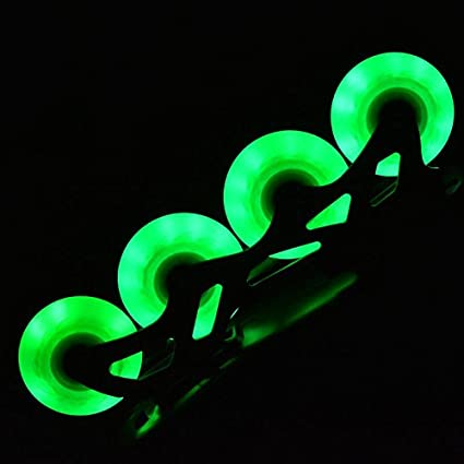 Wanna-store 4 Ruedas de Rodillo con luz LED para Patines en línea, para