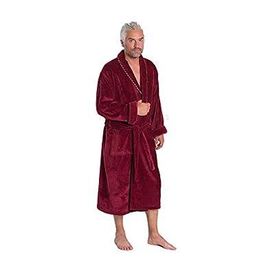Bown of London Earl Burgundy Men's Bathrobe, Finest Egyptian Cotton Velour Towel Robe in Claret