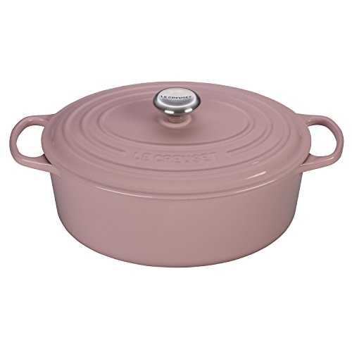 Le Creuset Signature Enameled Cast-Iron 6.75 Quart Oval French (Dutch) Oven, Chiffon Pink BonBon