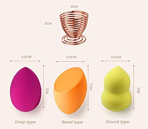 Makeup Sponges - Beauty Makeup Sponge Blender, Foundation Cosmetic Puff Sponge Blender and Powder Puff Sponge Support Display Stand (6PCS Blending Sponges + 2PCS Make up Sponge Holder)