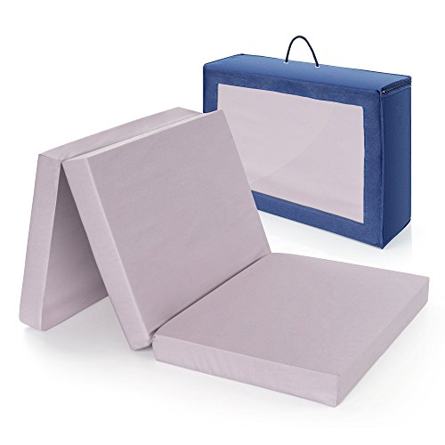 Alvi colchon cuna de viaje plegable 120x60 cm / Altura 6 cm - funda de algodon lavable, transpirable, sin sustancias nocivas