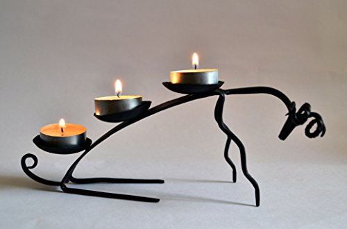 Black Metallic Finish - Chinhhari Arts Handmade Arch Centerpiece Candle Holder Black Metallic Finish Wrought Iron Crafted Stand 3 Pillar Centerpiece–Low Maintenance, Corrosion Resistant for Wedding, Party, Home Décor,Offices