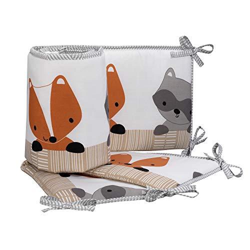 Bedtime Originals Acorn 4-Piece Crib Bumper - Gray, Animals, Woodland, Forest ()