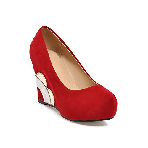 AllhqFashion Womens Solid Frosted High Heels Pull On Round Closed Toe Pumps Shoes Red 6Ytwz
