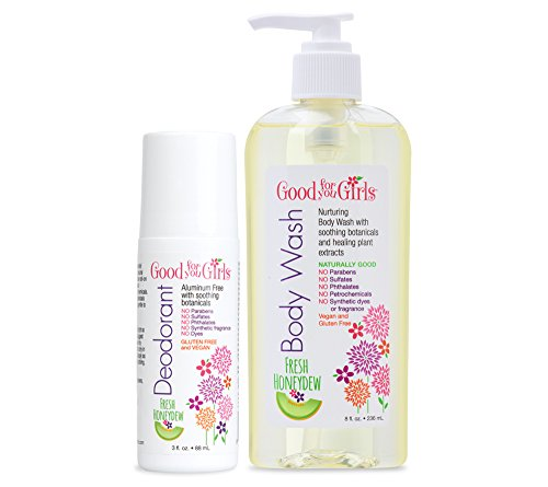 Good For You Girls Body Wash and Aluminum Free Roll On Deodorant, Kids, Pre-Teens, Teens, Gift Set