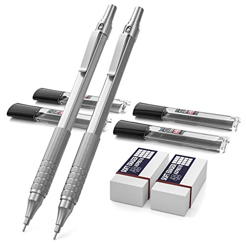 Nicpro Mechanical Pencils Set, Metal Automatic Drafting Pencil 0.5 mm and 0.7 mm Mechanical Pencil Graph With 4 Tubes HB Pencil Leads And 2 Erasers For Writing Draft, Drawing, Sketch -Come With Case (Best Mechanical Pencil For Drawing)