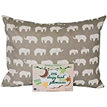 Little Sleepy Head Toddler Pillowcase - Organic Collection (Happy Elephants - Gray)
