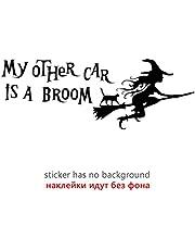 JKGHK Mijn andere auto is bezem grappige auto sticker vinyl sticker zilver/zwart auto bumper venster