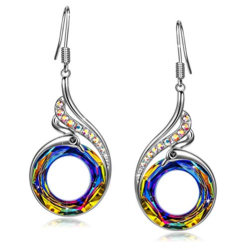 (CILILI ❤️Nirvana of Phoenix❤️ Pendant Necklace Dangle Drop Earrings Bangle Bracelets with Swarovski Crystals Quartz Gemstones Jewelry Set Gift for Women (E-Silver(Multicolor)))