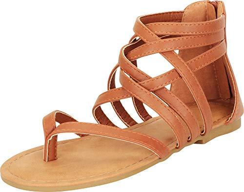 Cambridge Select Women's Crisscross Strappy Cutout Gladiator Thong Flat Sandal (7 B(M) US, Tan)