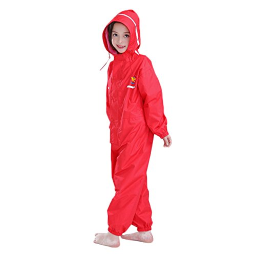 (Kids Raincoat Ponchos Overall Rainsuit Boys and Girls Rain Gear,2-14 Years Red)