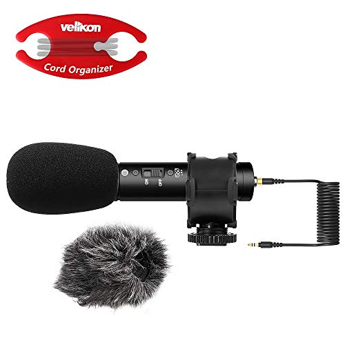 Velikon X/Y Stereo Microphone compact Shotgun Condenser Mic with Suspension Mount, Foam and Furry windshields for DSLRs, Cameras, Camcorders, Audio Recorders. Connects via 3.5 TRS cable