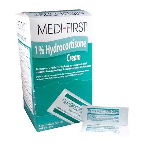 Medi-First MS60730 1 Percent Hydrocortisone Anti-Itch Cream Pack, 0.9 gm Packets (144)