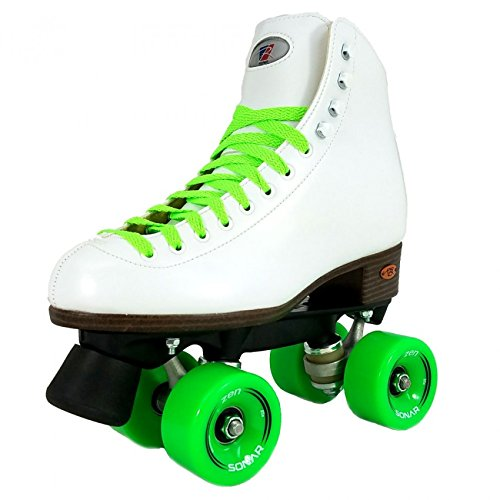 Riedell Citizen Outdoor Womens Rhythm Roller Skates w/ 3 Wheel and Lace Color Choices (Green, Pink or Red) - Best Skate for Outdoor Skating - Green Size 6 by Riedell