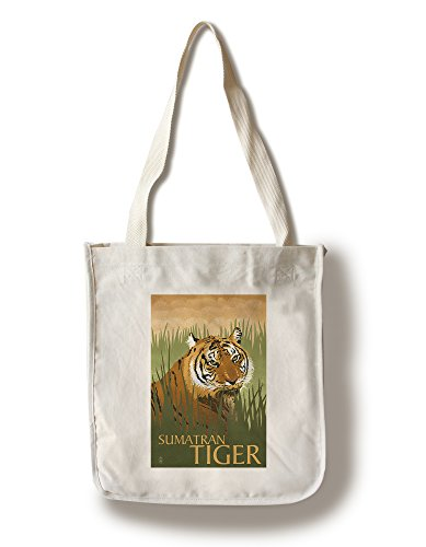 (Lantern Press Sumatran Tiger - Lithograph Series (100% Cotton Tote Bag - Reusable) )