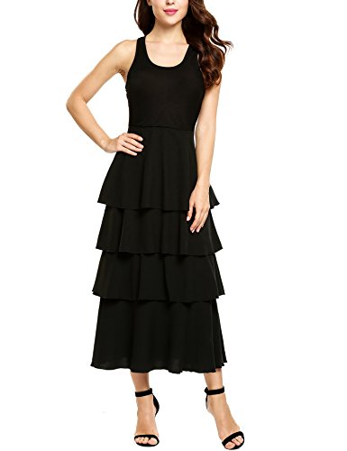 - Zeagoo Women Sleeveless Scoop Neck Pleated Tiered Patchwork Elegant Prom Party Maxi Dress