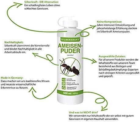 Silberkraft - Polvo para hormigas contra hormigas e insectos, 100% de gurro, antihormigas para casa y jardín, efecto inmediato y a largo plazo: Amazon.es: Jardín