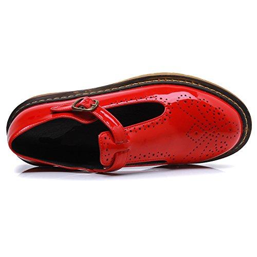 con planos Smilun mujer hebilla redonda para punta clásica de Zapatos Red de wIvdp4xqI
