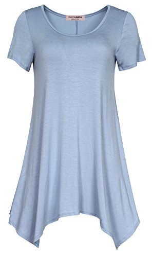 hort Sleeeves Scoop neck Comfy Loose Fit Swing Tunic Top for Leggings or Skinny jeans,Large,Blue (Le Top Daisy)