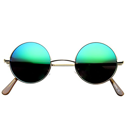 zeroUV - Lennon Style Small Round Color Mirrored Lens Circle Sunglasses (Gold - Color Frame Sunglasses