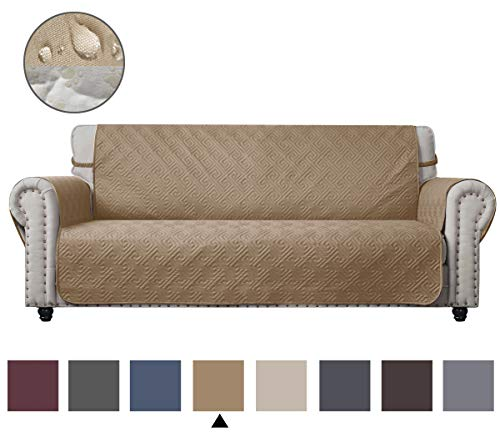 - CHHKON DEARTOWN Sofa Cover with Anti-Skip Dog Paw Print 100% Waterproof Quilted Furniture Protector Sofa Slipcover for Children, Pets for Leather Couch (Sand, Sofa)