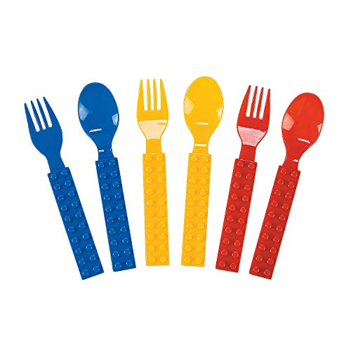 Fun Express - Block Party Fork & Spoon Set (16pc) for Birthday - Party Supplies - Solid Tableware - Cutlery - Birthday - 16 Pieces