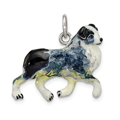 925 Sterling Silver with Enamel Animal Australian Shepherd Charm ()
