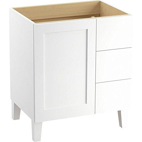 KOHLER K-99530-LGR-1WA Poplin Vanity with Furniture Legs 1 Door and 3 Drawers on Right, 30-Inch, Linen White