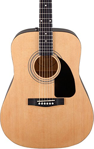 Fender FA-100 Beginner Acoustic Guitar with Gig Bag, Dreadnought Body Style, Natural Finish, Laurel Fretboard