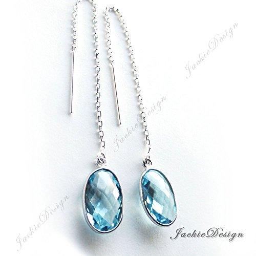Gemstone Threader Earrings (12mm Blue Topaz Quartz Minimalist Threader Sterling Silver Long Chain Earrings JD95)