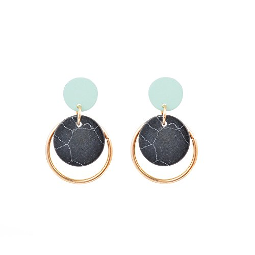 Geometric Dangle Earring Marble Stone Hoop Circle Tortoise Earrings Acrylic Classic Ear Nail for Women Girl (black)