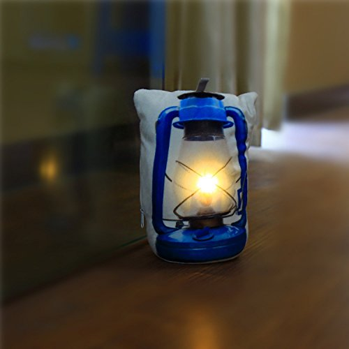 DECOSY Novelty Door Stops, Kerosene Lantern Printed LED Floor Decor - Home Security Sandbag Door Holder - Throw Pillow Shaped Improved House Tool - Royal Blue Stuffed Toys (Door Stopper Sandbag)