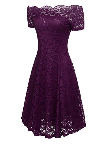 Formal ACEVOG Vintage Swing Purple Lace Cocktail Sleeve Short Floral Dress Women Off Shoulder CCwqrRz
