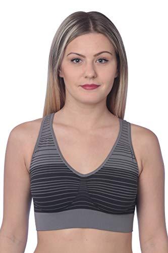 (Hanes Women's Cozy Seamless Wire-Free Bra, Grey Stripe/X-Large)