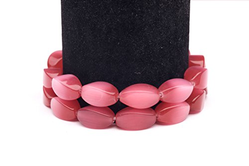 Ruby Cat's Eye Beads Twisted Oval Fiber Optic Glass Beads - Www Com Cateye