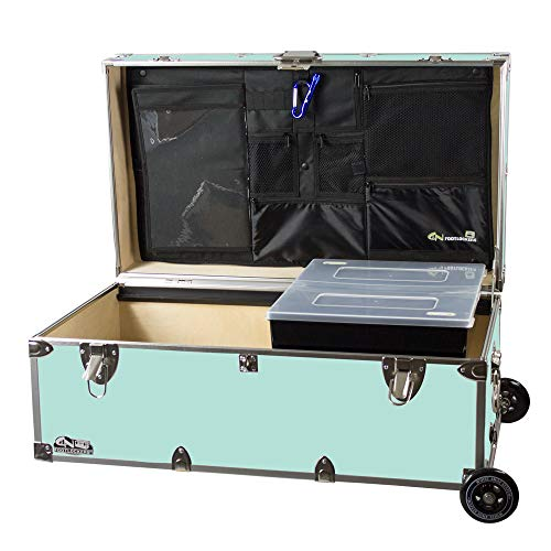 C&N Footlockers Happy Camper Trunk with Wheels, LidMate Organizer, and Tray - Durable Storage Chest - 32 x 18 x 13.5 Inches (Mint)