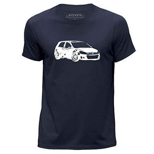 Gti Vr6 (STUFF4 Men's X Large (XL) Navy Blue Round Neck T-Shirt/Stencil Car Art / VW Golf GTI)