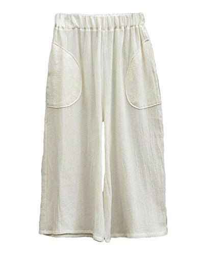 Donna Leggero Waist Monocromo High Estivi Moda Pantalone Capri Elegante Libero Pantaloni Tempo Gonna Grazioso Larghi Accogliente Bianca Pantaloni Giovane Women Baggy CF5OqwOSn4