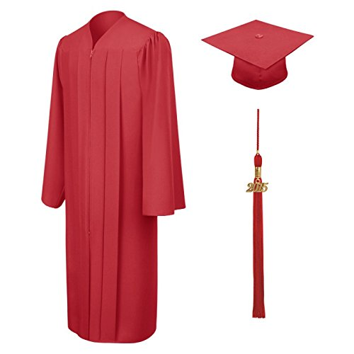 Amazon.com: Red Cap & Gown & Tassel Package – Matte Fabric, All ...