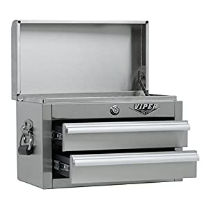 Viper Tool Storage V218MCSS 18-Inch 2-Drawer 304 Stainless Steel Mini Storage Chest