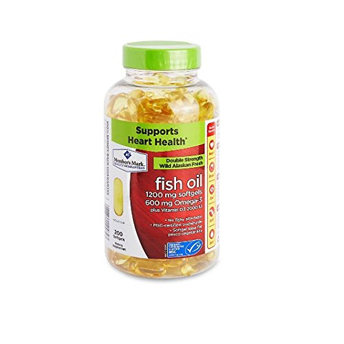 Member's Mark Enteric Double Strength Fish Oil 1200mg Softgels 600mg Omega-3 EPA DHA Plus Vitamin D3 2000 Iu (1 bottle (200 softgels)) by Members Mark