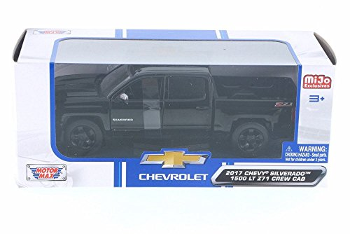 2017 Chevy Silverado 1500 Z71 Crew Cab Pick-Up Truck, Black - Motor Max 79348BK - 1/24 Scale Diecast Model Toy - Replica Pickup Truck