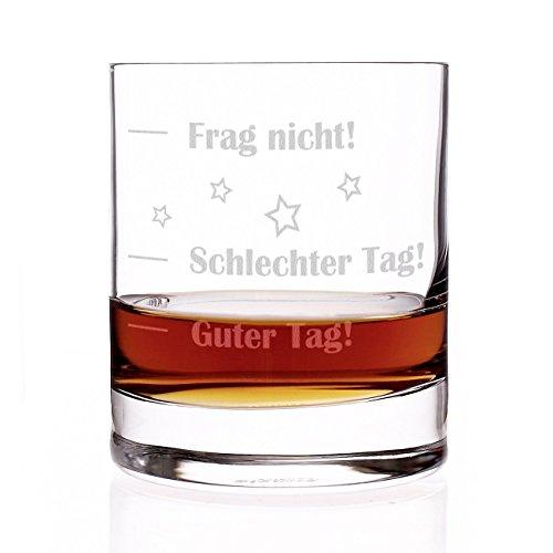 Stölzle Lausitz Whiskyglas mit Gratis Gravur - Guter Tag - Schlechter Tag - Frag nicht! - das Launebarometer als lustige Geschenkidee