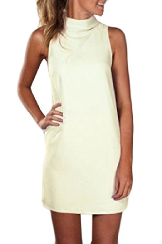 Mini Beige Plus Women White Coolred Turtleneck Sleeveless Solid Size Party Dress zZU6qwf6n