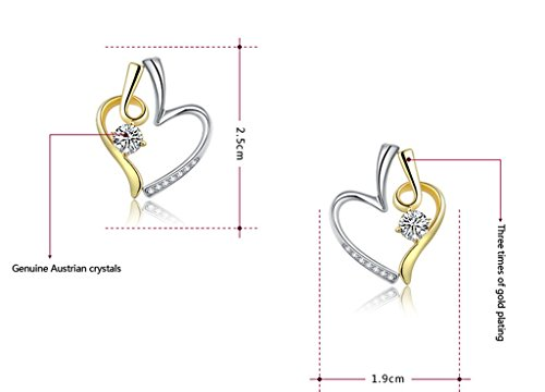 AMDXD Bijoux Plaqué Or Femme Boucles D'oreilles Blanc Rond Cubic Zirconia Cœur Forme 2.5*1.9cm