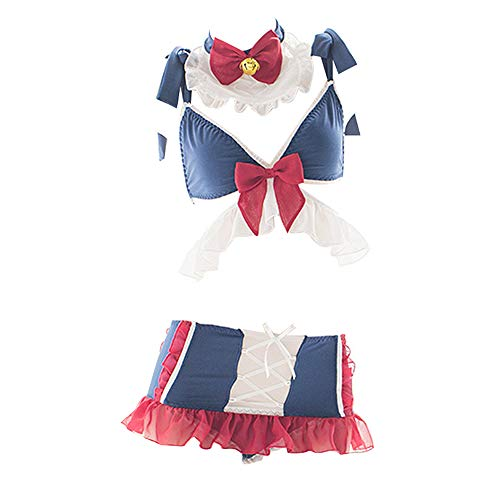 YOMORIO Cute Cat Cosplay Costume Sexy Bunny Outfit Japanese Anime Maid Lingerie Bra and Panty Set Blue