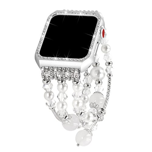 Falandi Apple Watch Band 42mm, Glittering Diamond Metal Silver Case with Handmade Elastic Stretch Bracelet Fashion Women Girls Rhinestone Replacement Strap for iWatch Series 3/2 / 1 (S, White-42mm)