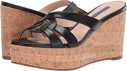 Stuart Weitzman Women's Cadence Black Shine Calf 8.5 M - Wedge Platform Stuart Shoes Weitzman